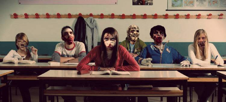 Zombie looking youth in a high school classroom